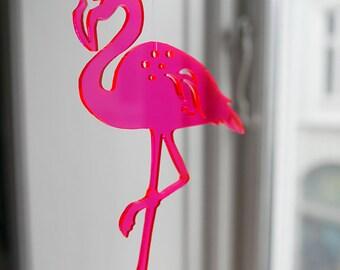 1 Neon red Flamingo - in transparent lasercut plexiglas