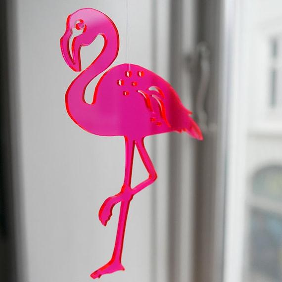items similar to 1 neon red flamingo in transparent lasercut plexiglas on etsy. Black Bedroom Furniture Sets. Home Design Ideas