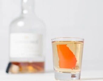 Georgia Silhoutte screen printed shot glass- Orange
