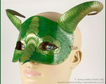 Horned Green Dragon leather mask, handmade scaled masquerade costume masque for Mardi Gras, Halloween, LARP