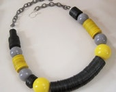 Signal VS Noise II, Sterling Silver, Vulcanite, Acrylic Necklace