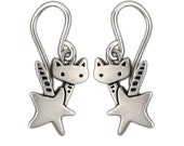 Little Rocket Cat Earrings - Sterling Silver Cat Earrings - Cat with Star