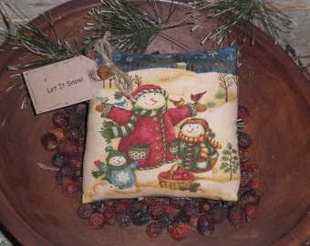 1 Primitive Whimsical - Let It Snow - Snowman Mini Pillow Bowl Filler Ornie Ornament Shelf Sitter Tuck