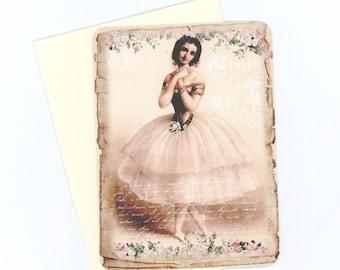 Ballerina Note Cards , Vintage Ballerina , Flat Cards , Feminine Cards , Ballet Cards