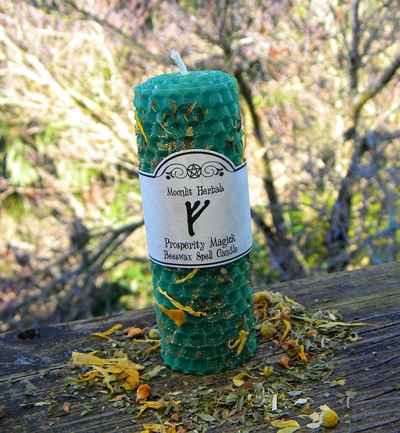 Prosperity Magick Rolled Beeswax Spell Candle - Money Drawing, Abundance, Wealth, Business Success, Employment, Good Fortune, Prosperity