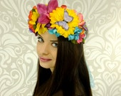 Rainbow Flower Crown, Summer, Floral Crown, Fantasy Headpiece, Fairy, Elven, Woodland Wedding, Crown, Boho Hair Wreath, Mori Kei, Lolita