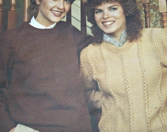 Sweater Knitting Patterns Women Pullovers Bouquet 466 Worsted Weight Yarn Vintage Paper Original NOT a PDF