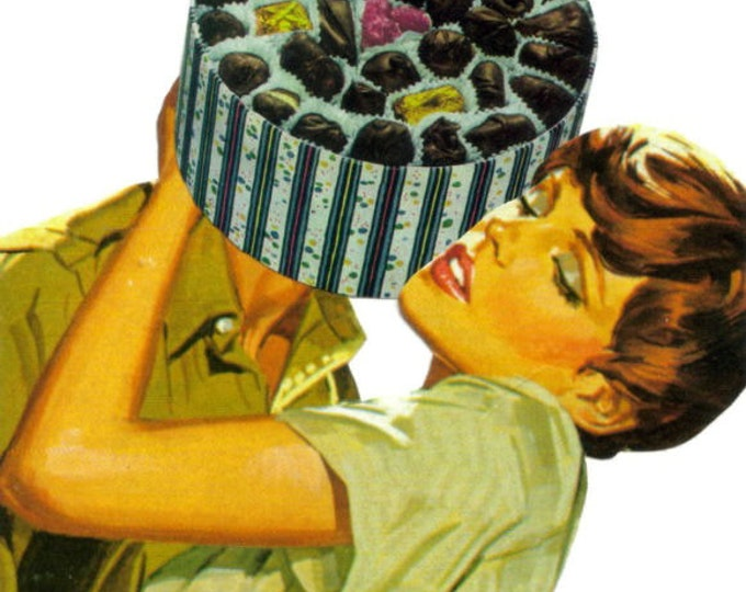 I Love Chocolate Art Collage, Romantic Candy Lover Artwork