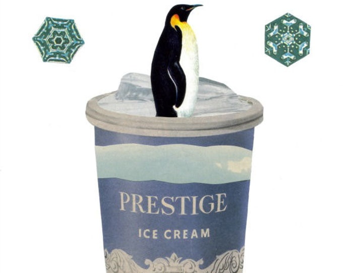 Cool Penguin Art Collage, Cute Ice Cream Artwork, Whimsical Decor