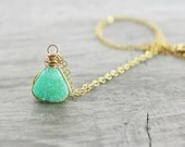 Green Druzy Necklace, Druzy Quartz Necklace, Triangle Pendant Necklace, Geometric Necklace, Druzy Gemstone Necklace, Gold Fill Necklace