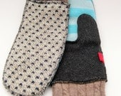 Medium Adult mittens, Remade from sweaters in blue stripe, charcoal, beige and fair isle, Lined for warmth! Canadian made