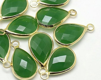 2 Faceted Glass Pendants, Jade Green Tear Drops with a Smooth Gold Plated Bezel