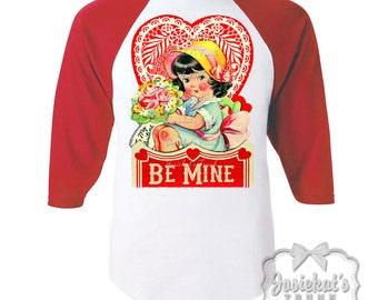 Valentine Shirt - Girl Be Mine Shirt - Toddler Baseball Valentine -  Girl Red White Baseball - Tween Valentine - Josiekatstrunk Retro Shirt