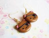 Pirate Bear Earrings, Kawaii Cute Handmade Polymer Clay Jewelry, gift for her