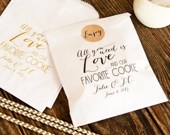 Cookie Favor Bags - Wedding Favor Bags - Love and our Favorite Cookie - Wax Lined Favor Bags - 20 White Favor Bags included