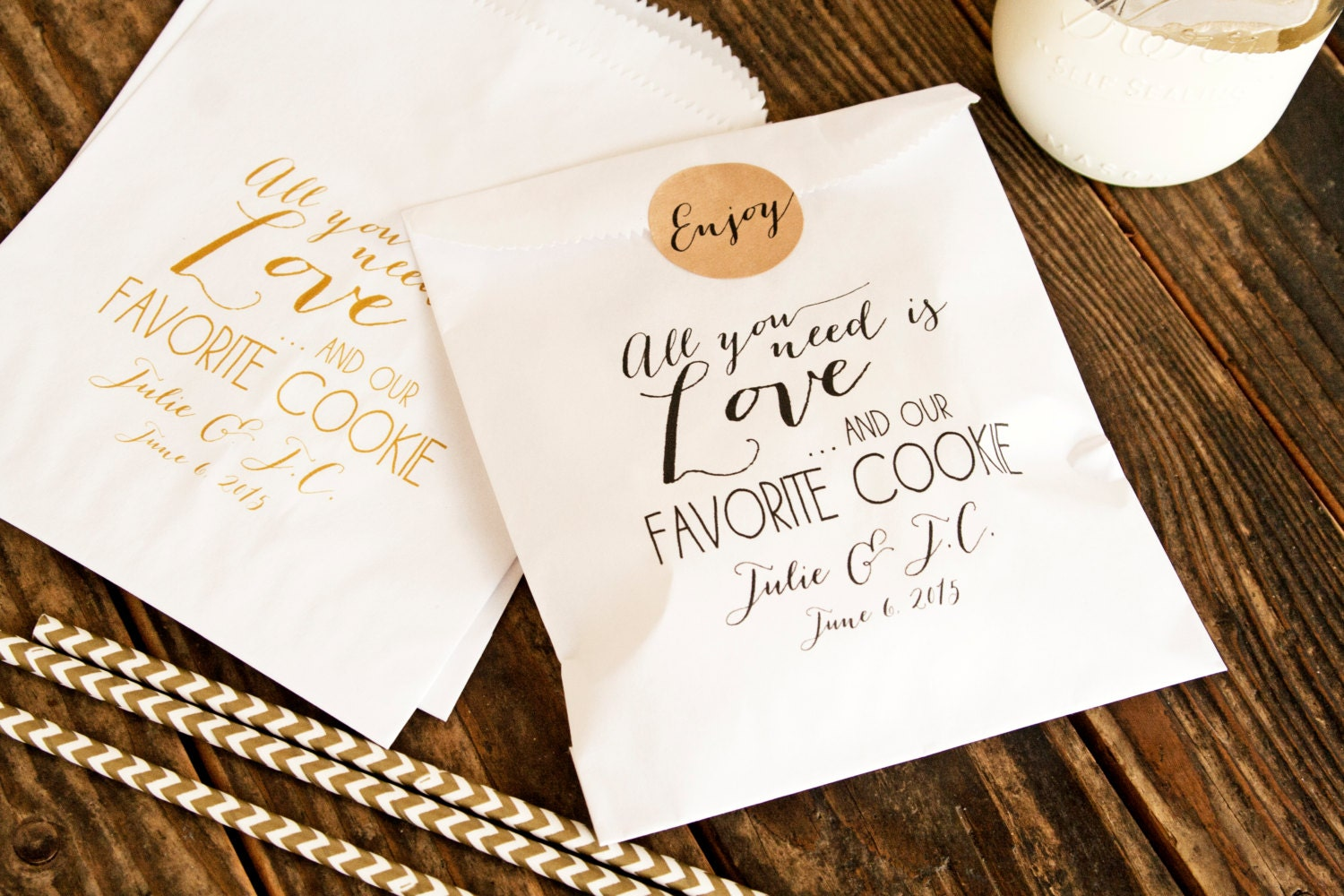 Cookie favor bags wedding favor bags love and our favorite for Cookie bags for wedding