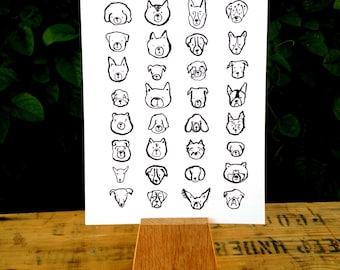 Modern Dog Heads Art Print, Wall art, Wall Decor