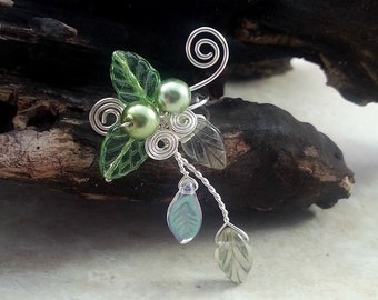 Spring Green Ear Cuff Vine, No Piercing, Fairy Jewelry, Fantasy Vine Wrap
