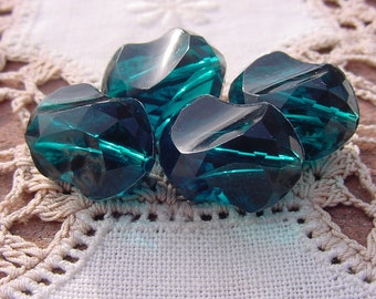 Emerald Teal Carved Nuggets Vintage Lucite Beads