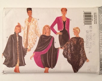Cape, Shawl and Jacket Formal Evening Wear  Butterick 3808 Pattern