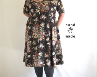 LoFi Dress - dark floral, plus size, 4X or 5X, empire waist, fit & flare, short sleeves, vintage screen printed fabric -- 59B-55W-74H