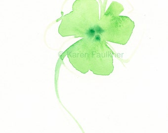 """Original watercolor painting of an abstract lime green flower:  """"Erin's Flower"""""""