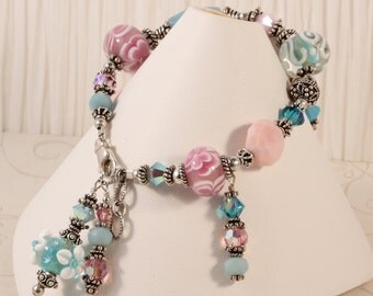 Chunky Artisan Lampwork Glass Charm Bracelet, Semiprecious Gemstones, Pink Blue Aqua, Amazonite, Pink Opal, Swarovski Crystals BWAT
