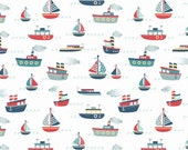 Riley Blake Fly Aweigh Nautical Boats Print on White 100% Cotton Quilting Fabric 1 yard