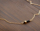 Signature Bar Necklace with Black Onyx & a Gold Faceted Bead on a Minimalistic 14k Gold Fill Bar and Chain
