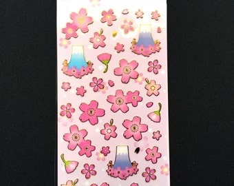 Mount Fuji Stickers - Japanese Stickers - Cherry Blossom Stickers - Flower Stickers  - Pink Stickers - Sakura Stickers S162