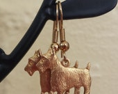 Scottish Terrier Earrings Highland Terrier Scottie Dog Earrings Gold Charm Dangle Raw Brass Lightweight Metal Earrings