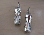 Clear Swarovski Crystal Baguettes in Rhodium Plated Leverback Earring Setting