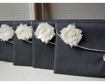 grey satin clutch, bridesmaid gift clutch, satin purse set 8, gray satin clutch, gray favor bag, gift bag, gray purse, gray pouch, cosmetic