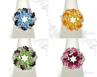 Swarovski Ring;crystal ring;Swirl Flower series - Swarovski Crystal Ring by CandyBead (R018-04)