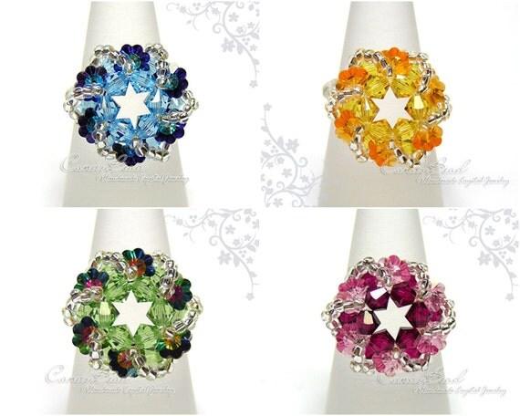 Swarovski ring, Swirl Flower series - Swarovski Crystal Ring by CandyBead (R018-04)