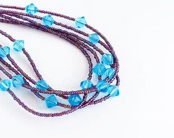 Multi-strand Necklace, Beaded Necklace, Purple, Blue, Seed Beads, Clearance