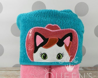 READY TO SHIP! Kitty Sheriff Hooded Towel for Bath, Beach, or Swimming Pool