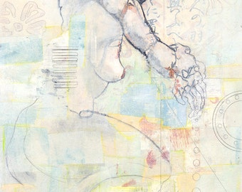 female figure drawing, mixed media and collage on gallery wrap. 8 x 10