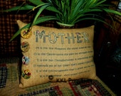 Folk Art MOTHER PILLOW Tuck GIFT  Decoration