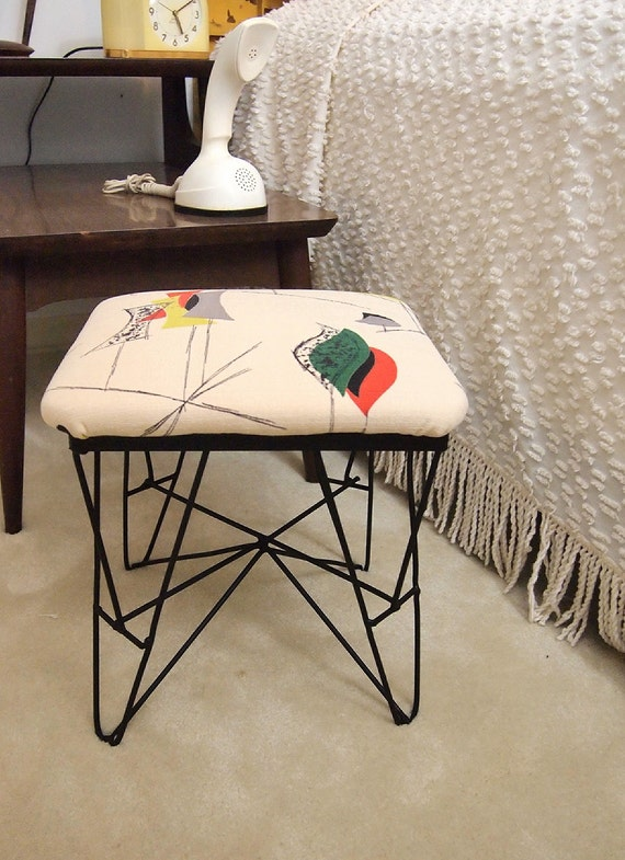Fun retro stool covered with groovy atomic vintage barkcloth fabric hairpin legs