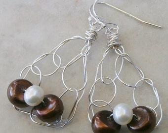 Pearl Earring, Dangle, Freshwater Pearls, Silver Earings, Teardrop Earings, Brown, White, Lacy, Airy, Silver Wire Earrings, Brown Pearls