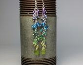 Upper Chakra Earrings EAD2015 Etsymetal Gemstone vesuvanite, emerald, tanzanite, tsavorite, iolite, turquoise, amethyst, garnet, apatite