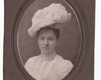 Easter Bonnet - Vintage Cabinet Portrait of Woman in Beautiful White Hat