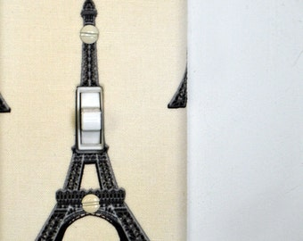 Light Switch Plate Cover - Cream with Eiffel Tower - France, French, Francophile, Europe, World, Global