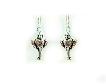 Elephant Earrings, Silver Elephants, Animal earrings, Animal jewelry, Babar - E0808-02
