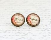 Travel, Explorer Gift, Chicago Earrings, Post Earrings, Map Earrings, Map Jewelry, Vintage Map Print, Stud Earrings, Gift For Woman