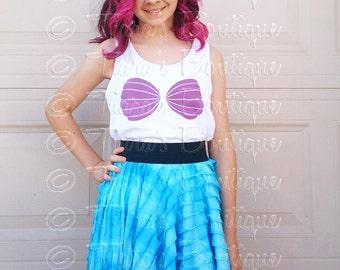 Seashell Tank Top, Little Mermaid Shirt, Ariel Sea Shell Bra Top T-shirt, Child's Tshirt, Mermaid Birthday Tee for Babies Tweens Girls