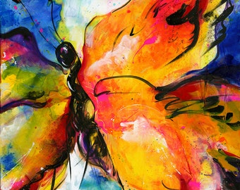"Yellow Butterfly Painting, Large Abstract Canvas Art, ""Joyful Ecstasy No 2"" Original Colorful Contemporary Art by Kathy Morton Stanion EBSQ"