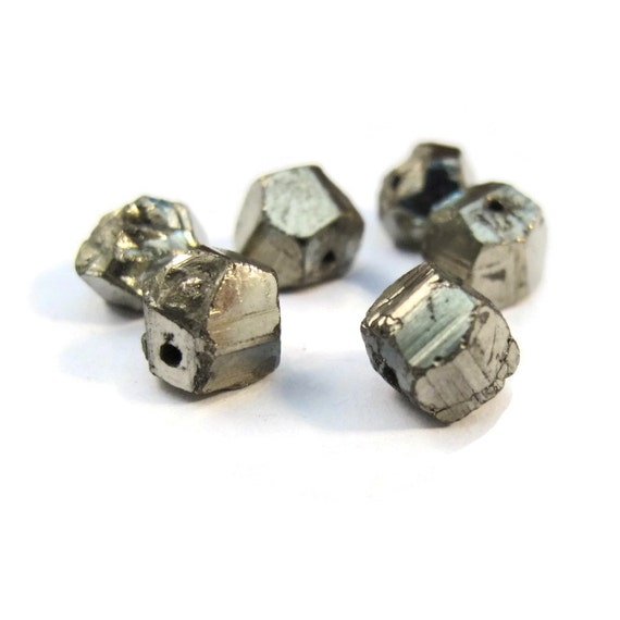 Five Pyrite Nugget Beads, Set of 5 Stones, 6mm-7mm Natural Rough Pyrite Beads for Making Jewelry, Fools Gold (S-Py1c)
