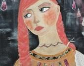 Girl In The Rain. Original Mixed Media Painting
